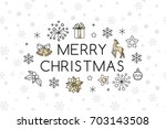 christmas banner from line art... | Shutterstock .eps vector #703143508