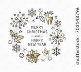 christmas card from line art... | Shutterstock .eps vector #703143796