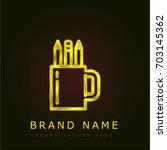 pencil golden metallic logo