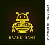 robot golden metallic logo