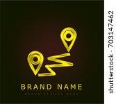 distance golden metallic logo