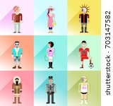 set of 9 characters avatars | Shutterstock .eps vector #703147582