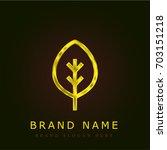 leaf golden metallic logo
