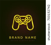 gamepad golden metallic logo | Shutterstock .eps vector #703152742