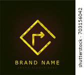 turn right golden metallic logo