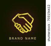 shake hands golden metallic logo