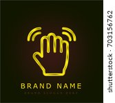 wave hand golden metallic logo
