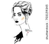 woman portrait fashion... | Shutterstock .eps vector #703159345