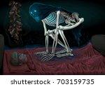 sleep paralysis. horror scene... | Shutterstock .eps vector #703159735