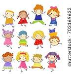 group of children | Shutterstock .eps vector #703169632