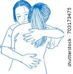 vector art drawing of mother... | Shutterstock .eps vector #703173475
