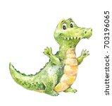 cartoon crocodile. cute green... | Shutterstock . vector #703196065