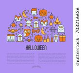 cartoon halloween concept in... | Shutterstock .eps vector #703216636