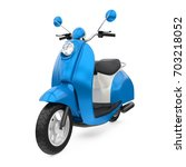 Blue Classic Scooter Isolated....