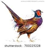Bird Pheasant. Watercolor...