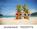couple of funny attractive... | Shutterstock . vector #703235776