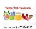 shana tova. rosh hashanah.... | Shutterstock .eps vector #703244395