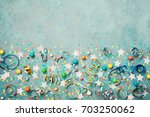 holiday background decorated... | Shutterstock . vector #703250062