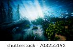 underwater ocean waves ripple... | Shutterstock . vector #703255192