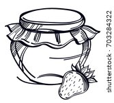 jams black and white drawing... | Shutterstock .eps vector #703284322