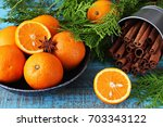 Fresh Oranges Bowl With Cypres...