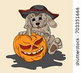 vector illustration a dog in a... | Shutterstock .eps vector #703351666