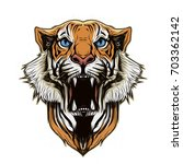 illustration of tiger head on... | Shutterstock . vector #703362142