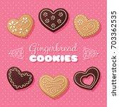 gingerbread heart shaped... | Shutterstock . vector #703362535