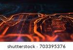 orange and blue technology... | Shutterstock . vector #703395376