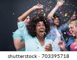 confetti party multiethnics... | Shutterstock . vector #703395718