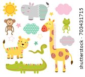 set of isolated baby jungle... | Shutterstock .eps vector #703431715