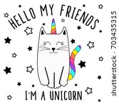 i am unicorn  cute graphics for ... | Shutterstock .eps vector #703435315