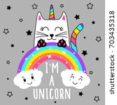 cute cat unicorn  cute graphics ... | Shutterstock .eps vector #703435318