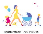 woman with two children and... | Shutterstock . vector #703441045