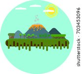 tropical island with volcano... | Shutterstock .eps vector #703453096