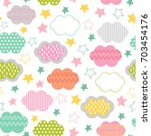 seamless pattern with clouds... | Shutterstock .eps vector #703454176