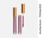 purple lip gloss mockup.... | Shutterstock . vector #703466302