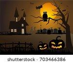 happy halloween  with pumpkins...   Shutterstock .eps vector #703466386