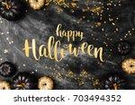 halloween background with black ... | Shutterstock . vector #703494352