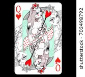 queen of hearts. playing card... | Shutterstock . vector #703498792