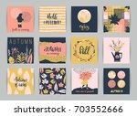 set of artistic creative autumn ... | Shutterstock .eps vector #703552666