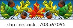 illustration in stained glass... | Shutterstock .eps vector #703562095