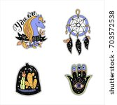 vector patch set magic love and ... | Shutterstock .eps vector #703572538