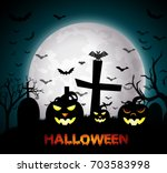 halloween night with pumpkins | Shutterstock . vector #703583998