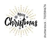 merry christmas   vintage  ... | Shutterstock .eps vector #703584676