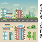 the city is a flat style a set... | Shutterstock .eps vector #703596235