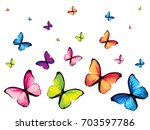 set of six colorful butterfly... | Shutterstock .eps vector #703597786