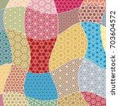 vector patchwork quilt pattern. ... | Shutterstock .eps vector #703604572