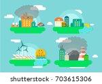 factory or industrial building... | Shutterstock .eps vector #703615306