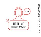 red thin line hotline support... | Shutterstock .eps vector #703617982